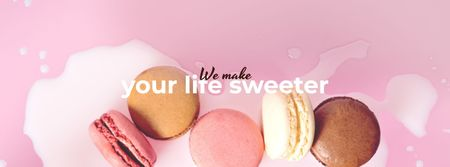 Bakery ad with Macaron cookies Facebook cover Tasarım Şablonu