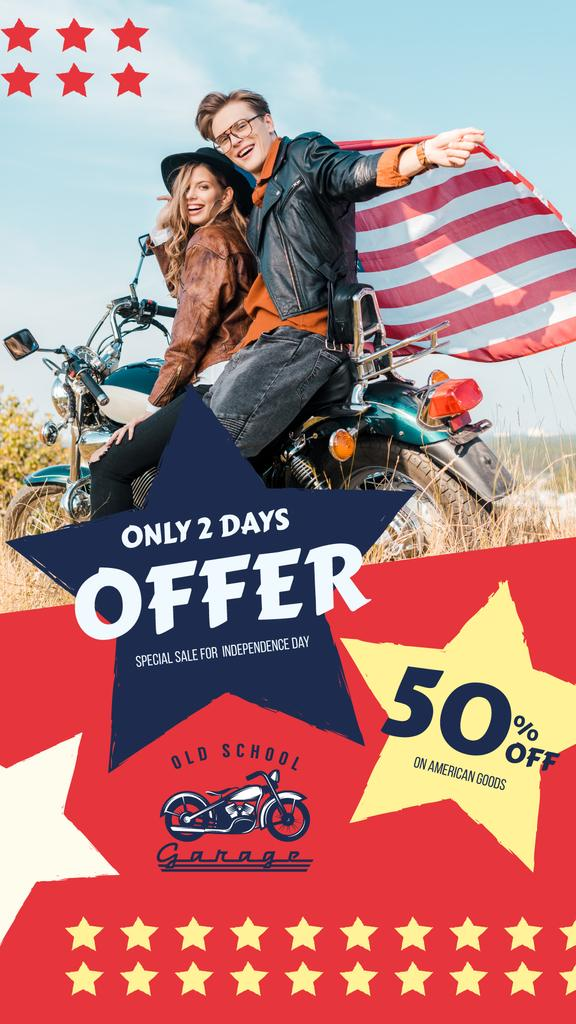 Independence Day Sale Ad with Bikers Couple — Створити дизайн