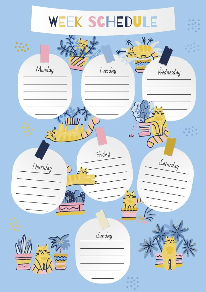 Week Schedule Planner with Funny Cats — Create a Design