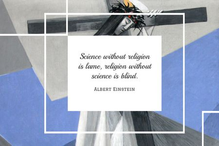 Designvorlage Citation about science and religion für Gift Certificate