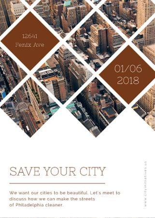 Urban event Invitation with Skyscrapers view Flayer Modelo de Design