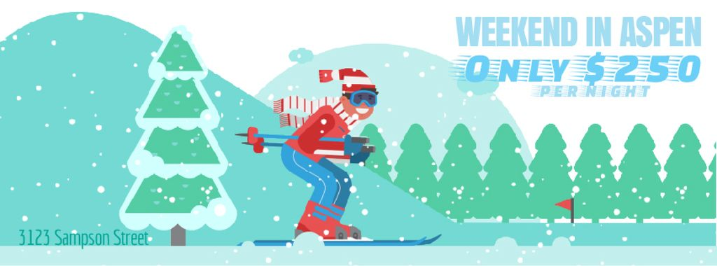 Skier Riding on a Snowy Slope | Facebook Video Cover Template — Crea un design