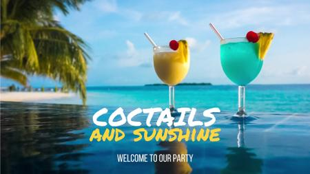 Designvorlage Glasses with cocktails on tropical beach für Full HD video