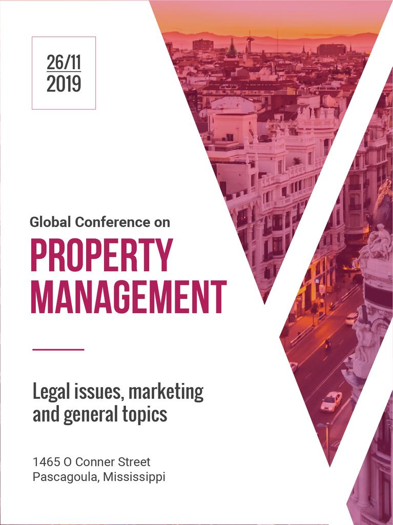 Property Management Conference City Street View | Poster Template — Créer un visuel
