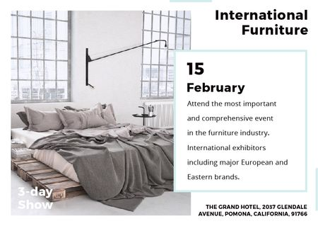 Furniture Show Bedroom in Grey Color Postcard Tasarım Şablonu