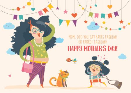 Happy Mother's Day postcard with funny Mom and daughter Postcard Design Template