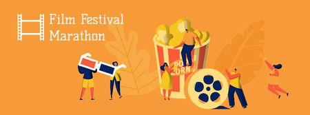 Modèle de visuel Film Festival Marathon viewers - Facebook Video cover