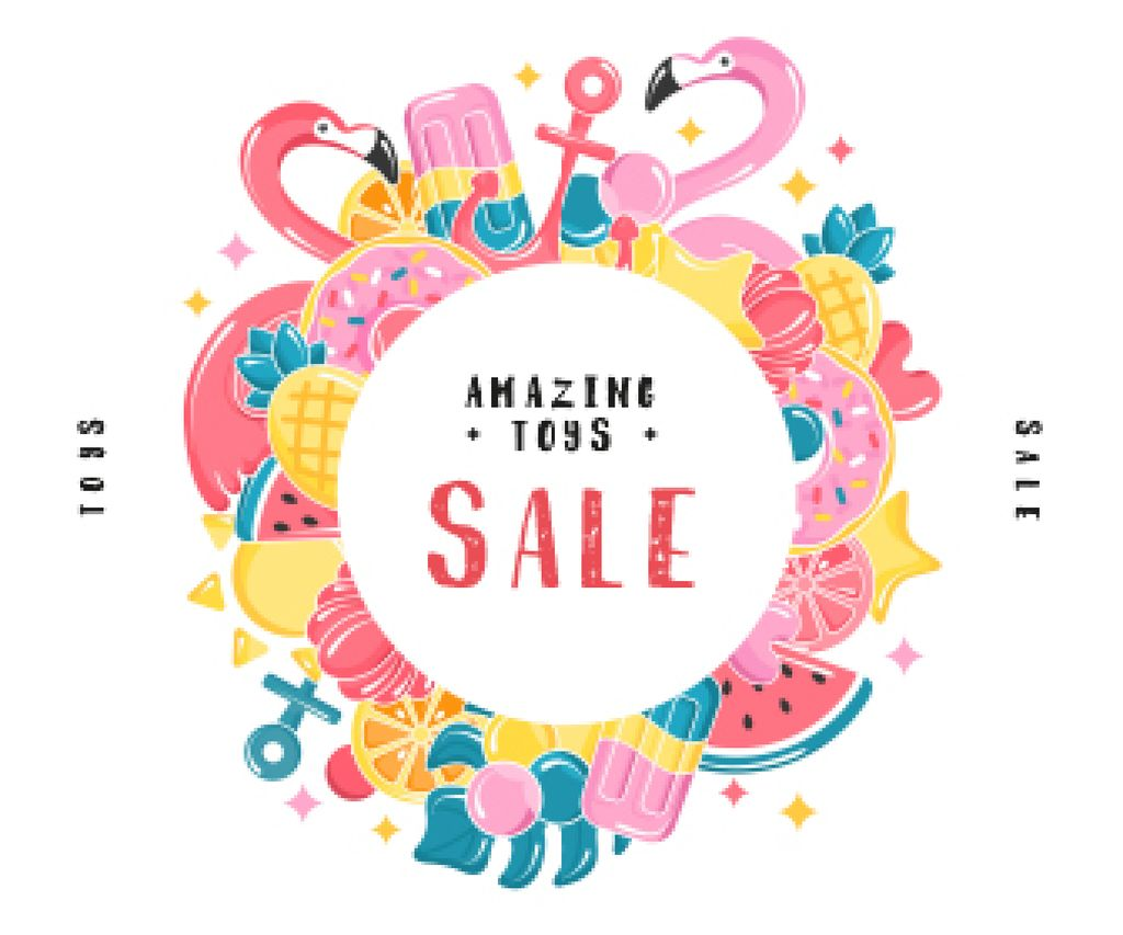 Summer Toys Sale Frame in Pink | Large Rectangle Template — Maak een ontwerp