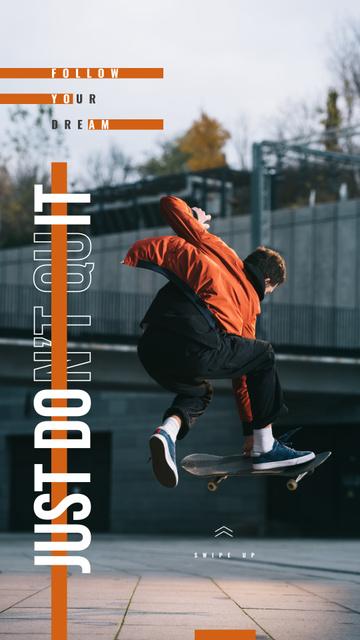 Plantilla de diseño de Man riding skateboard Instagram Story