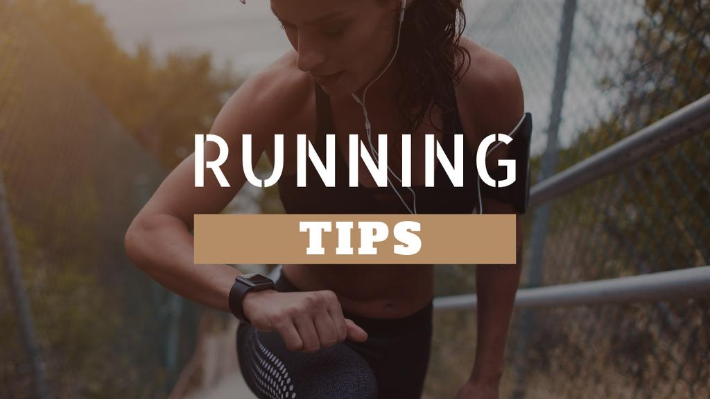 Running Tips Woman Running in City | Youtube Thumbnail Template — Створити дизайн