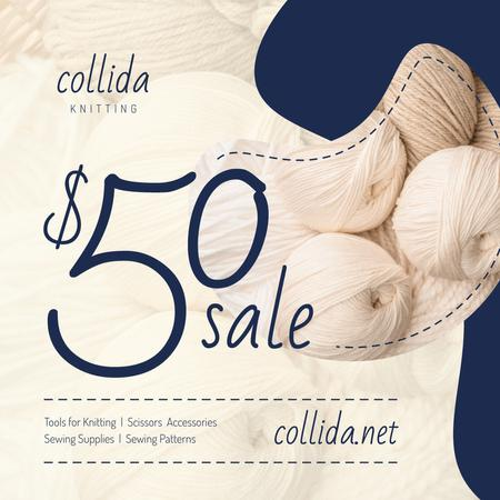 Plantilla de diseño de Knitting Equipment Sale Wool Yarn Skeins Instagram