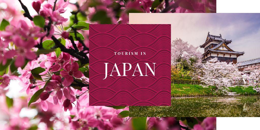 Japanese building and sakura — Modelo de projeto