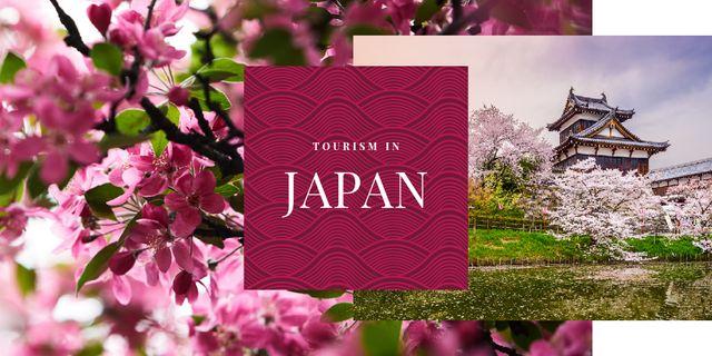 Designvorlage Japanese building and sakura für Twitter