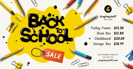 Szablon projektu Back to School Sale Stationery and Inscription in Blot Facebook AD