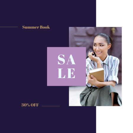 Sale Announcement Female Student Holding Book Instagram AD Design Template