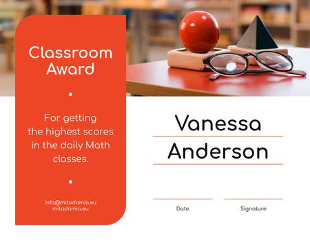 Math Classes achievement Award Certificate Modelo de Design