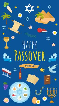 Happy Passover holiday on blue Instagram Story – шаблон для дизайна