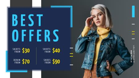 Plantilla de diseño de Store Offer Stylish Woman in Warm Clothes Full HD video