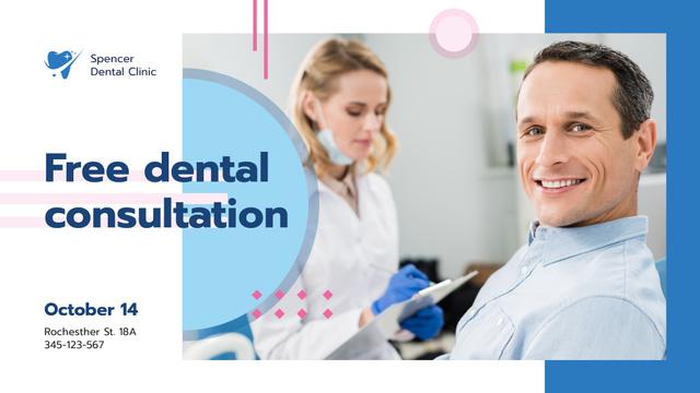 Dental Clinic promotion man smiling at Checkup FB event cover Modelo de Design