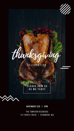 Ontwerpsjabloon van Instagram Story van Thanksgiving Invitation Roasted Whole Turkey