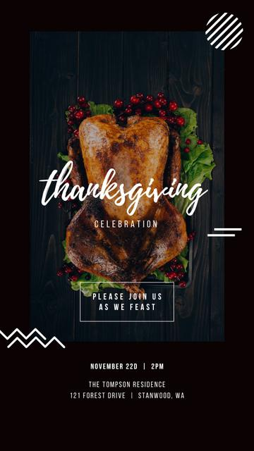 Plantilla de diseño de Thanksgiving Invitation Roasted Whole Turkey Instagram Story