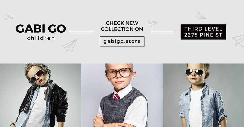 Children clothing store with Stylish Kids — Créer un visuel