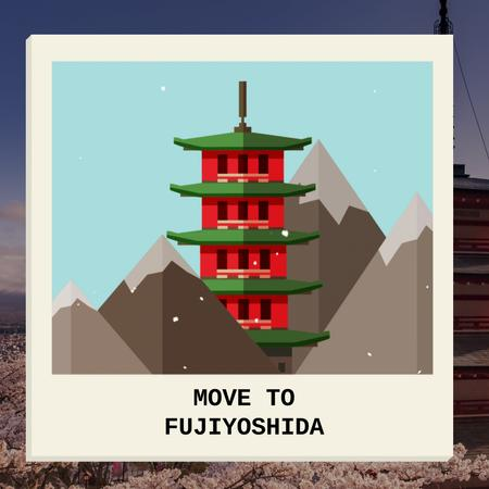 Modèle de visuel Fujiyoshida famous Travelling spots - Animated Post