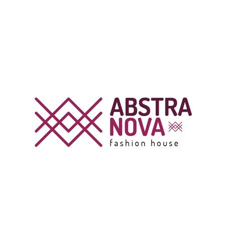 Fashion Ad with Geometric Lines Icon in Purple Logo Tasarım Şablonu