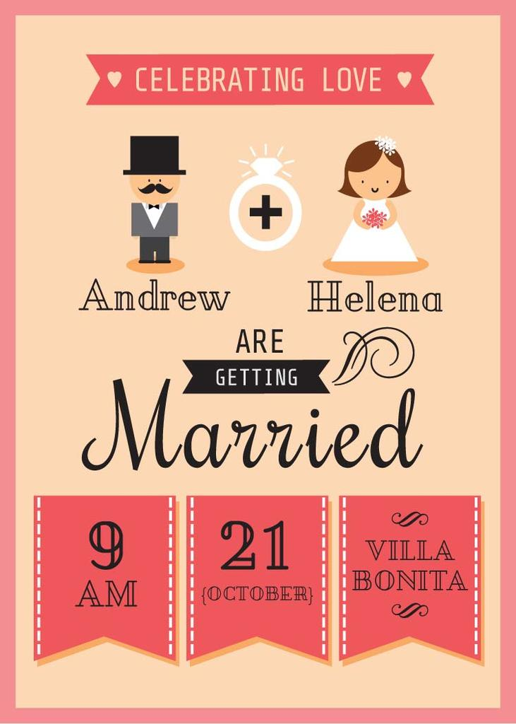 Wedding Invitation Card 5x7in Template Design Online