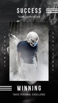 Sports Quote American Football Player with Ball | Stories Template