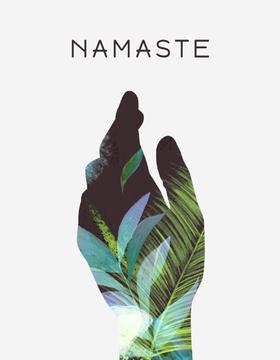 Hand Silhouette with Green Leaves