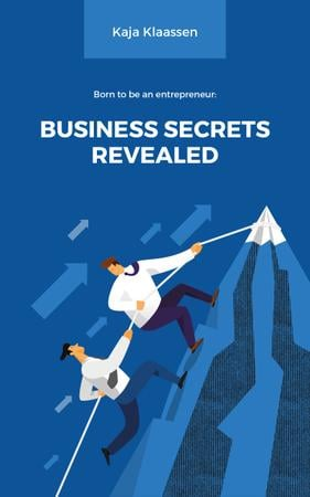 Designvorlage Businessmen Climbing on Mountain in Blue für Book Cover