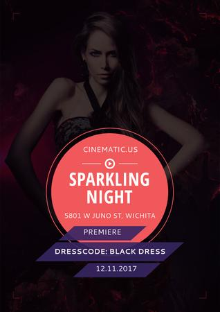 Plantilla de diseño de Sparkling night party Annoucement Poster