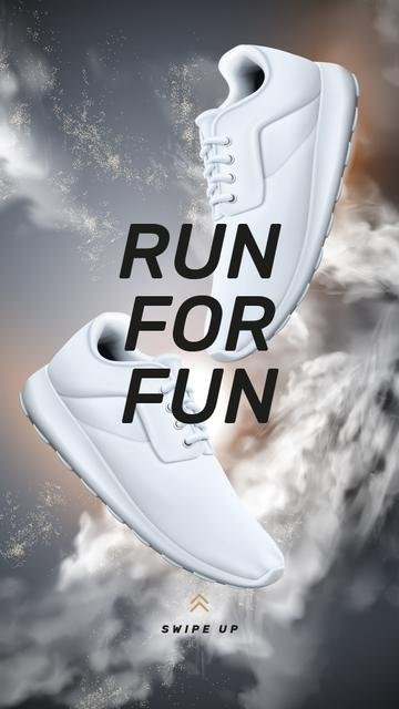 Template di design Motivational Quote with pair of sneakers Instagram Story