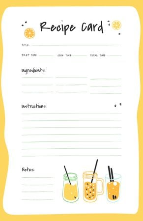 Modèle de visuel Fresh Fruit Juices - Recipe Card