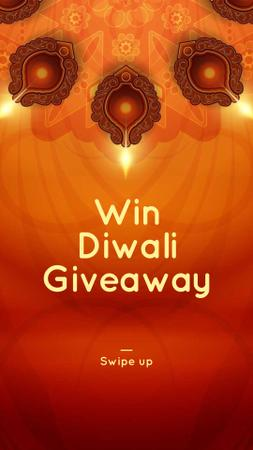 Happy Diwali Greeting Glowing Lamps Instagram Story Design Template