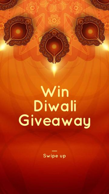 Happy Diwali Greeting Glowing Lamps Instagram Story Modelo de Design