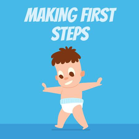 Baby learning to walk Animated Post Design Template