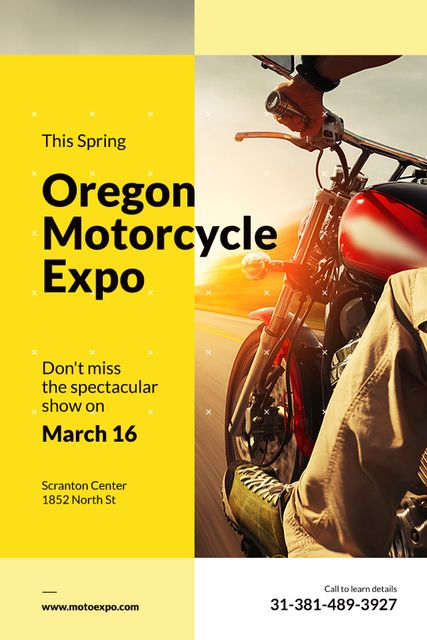 Motorcycle Exhibition Man Riding Bike on Road Tumblrデザインテンプレート