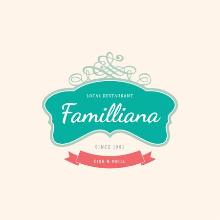 Template di design Local Restaurant with Elegant Decorative Frame Logo
