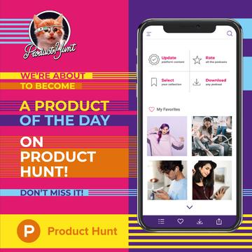 Product Hunt Campaign People Listening Music in Headphones | Instagram Post Template