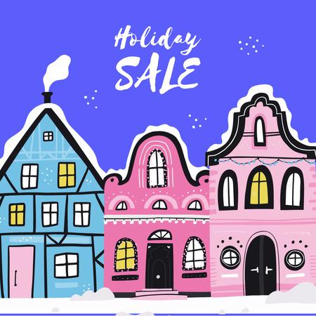 Plantilla de diseño de Holiday Sale with Winter Town Instagram