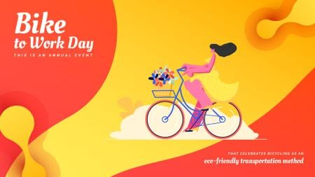 Template di design Girl riding bicycle with flowers Full HD video
