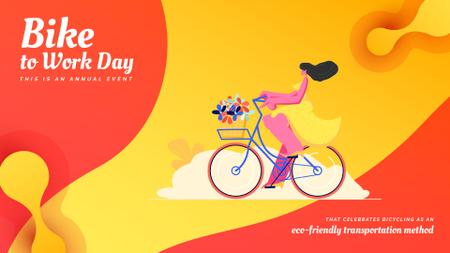 Girl riding bicycle with flowers Full HD video Design Template
