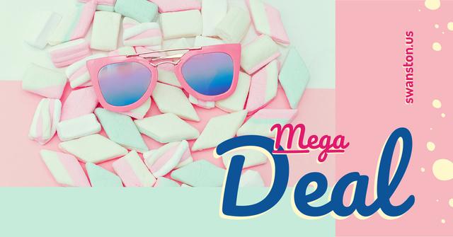 Stylish pink Sunglasses on marshmallows Facebook AD Modelo de Design