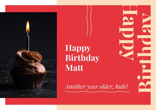 Birthday Greeting Candle On Cupcake In Red