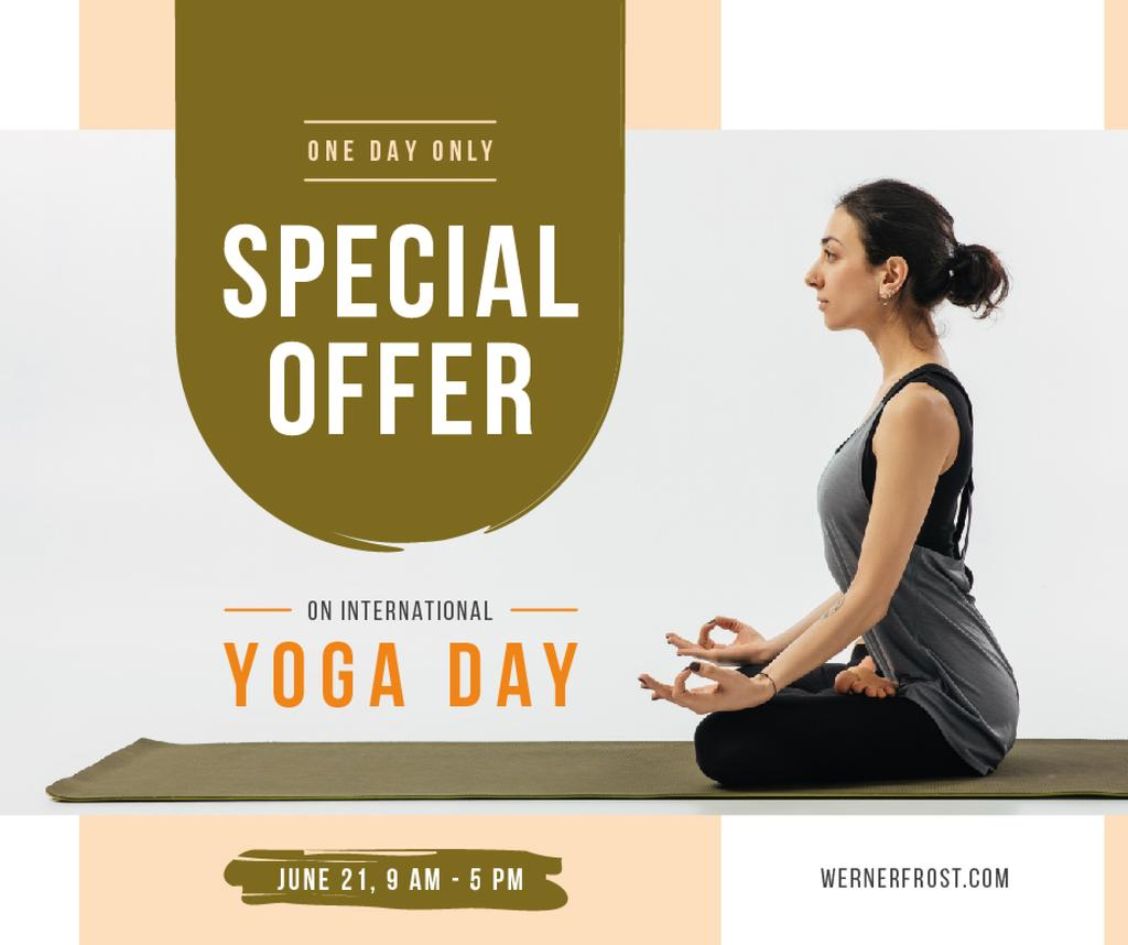 Woman practicing on Yoga day — Create a Design