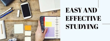 Easy and effective studying with Stationery and smartphone Facebook cover Modelo de Design