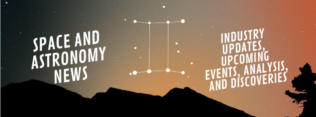 Night sky with Gemini constellation — Modelo de projeto