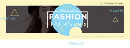 Modèle de visuel Fashion talks with Young attractive Woman - Facebook cover